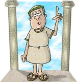 A day at the forum. This illustration that I created depicts a man in a Roman toga standing between two pillars Stock Photos