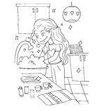 The daily day for girl student for coloring. The daily day for girl student hand drawing with black pencil for coloring isolated on the white background Stock Photos