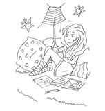 The daily day for girl student for coloring. The daily day for girl student hand drawing with black pencil for coloring isolated on the white background Royalty Free Stock Image