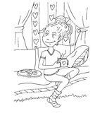 The daily day for girl student for coloring. The daily day for girl student hand drawing with black pencil for coloring isolated on the white background Royalty Free Stock Photo