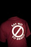 Day goes away. Shirt with a message reading say no to drugs stock images
