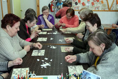 Day of Health. In Center of social services for pensioners and the disabled Otrada (occupational therapy for eldery) in Podporozhye, Russia Stock Images