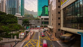 Day hong kong center traffic street crossroad panorama 4k time lapse china. China summer day hong kong city center traffic street crossroad panorama 4k time stock video footage