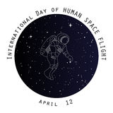 Day of human space flight card design  Royalty Free Stock Photo