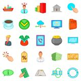 Day icons set, cartoon style. Day icons set. Cartoon set of 25 day vector icons for web isolated on white background Stock Image