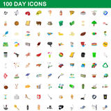 100 day icons set, cartoon style Stock Photography