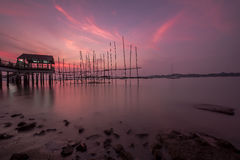 A day by the jetty with a gorgeous sunset Stock Images