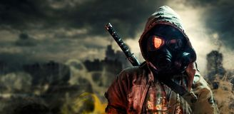 Nuclear post apocalypse survivors. On the Day of Judgment, the day and human on which the flood and destruction came Royalty Free Stock Photography