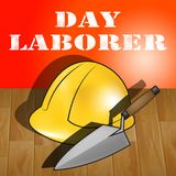 Day Laborer Represents Construction Work 3d Illustration. Day Laborer Builders Hat Represents Construction Work 3d Illustration Royalty Free Stock Photography