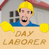 Day Laborer Showing Construction Work 3d Illustration. Day Laborer Shows Construction Work 3d Illustration Stock Photo