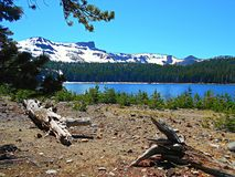 A Day At the Lake. Three Creek Lake and Tam McArthur Rim - Cascade Range - near Sisters, OR stock photography