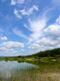 Day landscape with different clouds in the blue sky Royalty Free Stock Photos