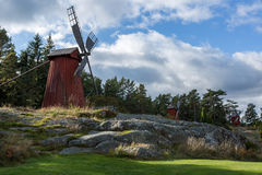 Day landscape with three windmills Stock Photography