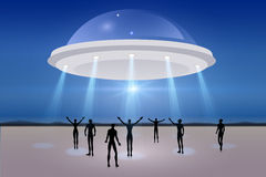 Day landscape with UFO Stock Photos