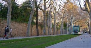 Day light barcelona city tram line alley 4k spain. Spain day light barcelona city tram line alley 4k stock footage