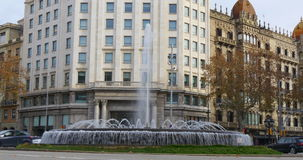 Day light barcelona traffic crossroad fountain 4k spain stock video