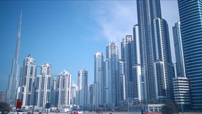 Day light business bay 4k time lapse from dubai Royalty Free Stock Images
