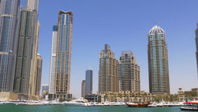 Day light dubai city marina buildings panorama 4k uae stock video