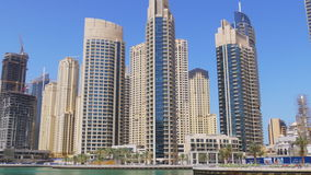 Day light dubai marina buildings panorama 4k uae stock footage