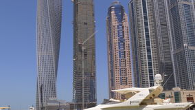 Day light famous dubai marina buildings panorama 4k uae stock video footage