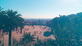 Day light park guell barcelona panorama 4k time lapse spain barcelona stock footage
