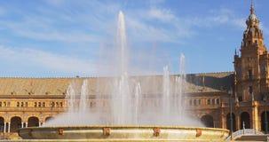 Day light seville plaza de espana main fountain 4k spain stock footage