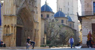 Day light valencia cathedral plaza 4k spain stock footage