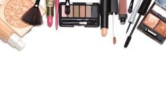 Beauty products for natural makeup on white with copy space. Day makeup set. Beauty products for natural make-up on white background with copy space Stock Photos