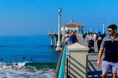 A Day On The Manhattan Beach Pier. An idyllic day at the beach in Manhattan Beach, CA Royalty Free Stock Photography