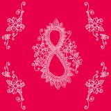 Day 8 of March Women s Day. Festive card, doodle style. Decorative figure eight in patterns and colors. Vector hand drawing holiday background.r Royalty Free Stock Photo