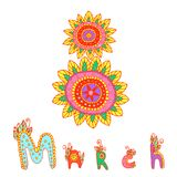 Day 8 of March Women s Day. Festive color card, doodle fuuny style. Decorative figure eight and the name of the month of March in patterns and colors, isolated Stock Photography