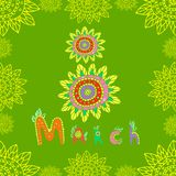 Day 8 of March Women s Day. Festive color card, doodle funny style. Decorative figure eight and the name of the month of March in patterns and colors, . Vector Stock Photo