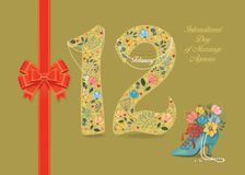 Day of Marriage Agencies. Floral Number 12. International Day of Marriage Agencies. Number Twelve with floral decor. Pearl collar with texts as pendants vector illustration