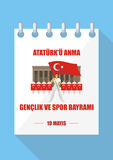 Day of memory of Ataturk. Translation from Turkish: May 19, Ataturk Memorial day, holiday of youth and sport. A vector illustration by a public holiday of Turkey royalty free illustration