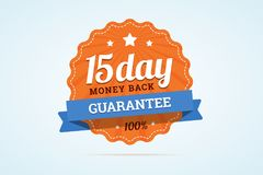 15-day money back guarantee badge. Paper sign in flat style with ribbon, stroke line, stars and rays. Vector illustration in flat style royalty free illustration