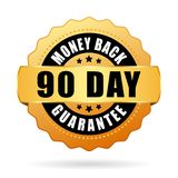 90 day money back guarantee gold icon. 90 days money back guarantee gold icon isolated on white background Royalty Free Stock Image