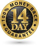 14 day 100% money back guarantee golden sign, vector illustratio. 14 day 100% money back guarantee golden sign, vector Stock Image