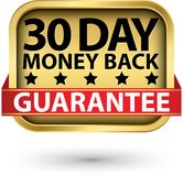 30 day money back guarantee golden sign, vector illustration. 30 day money back guarantee golden sign, vector royalty free illustration