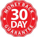 30 day money back guarantee red sign, vector illustration. 30 day money back guarantee red sign, vector Royalty Free Stock Photo