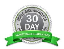 30 day money back guaranteed label. Vector satisfaction guaranteed sign Royalty Free Stock Image