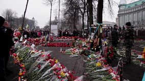 Day of mourning for the dead. 27.02.2014. Kiev, Ukraine, Independence Square stock footage