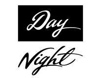 Day Night. Colorful inscription of words Day and Night Royalty Free Stock Photos