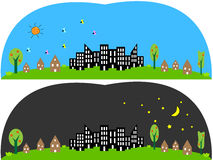 Day and Night. This is a picture of Day and Night time Stock Photo