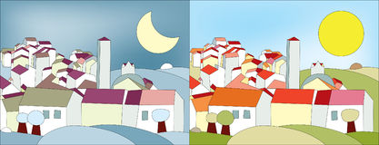 Day and night. Two same landscapes with a village view beeing at night and at day time