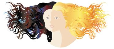 Day&Night. Day and Night, one face vector illustration
