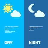 Day and night banners  with sun  moon in Royalty Free Stock Photo