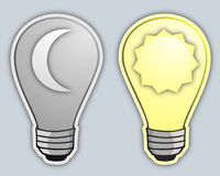 Day and night bulb Stock Image