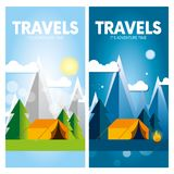 Day and night in a camping in the mountains or forest with a tent and a fire. Internet banners or design for a postcard, flyer or poster. Vector illustration Royalty Free Stock Photos