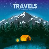 Day and night in a camping in the mountains or forest with a tent and a fire. Internet banners or design for a postcard, flyer or poster. Vector illustration Stock Photos