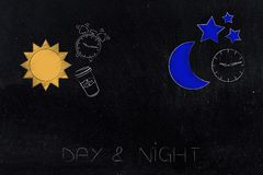 Day & night caption with sun alarm and coffee next to moon and c. Working shifts conceptual illustration: day & night caption with sun alarm and coffee next to vector illustration